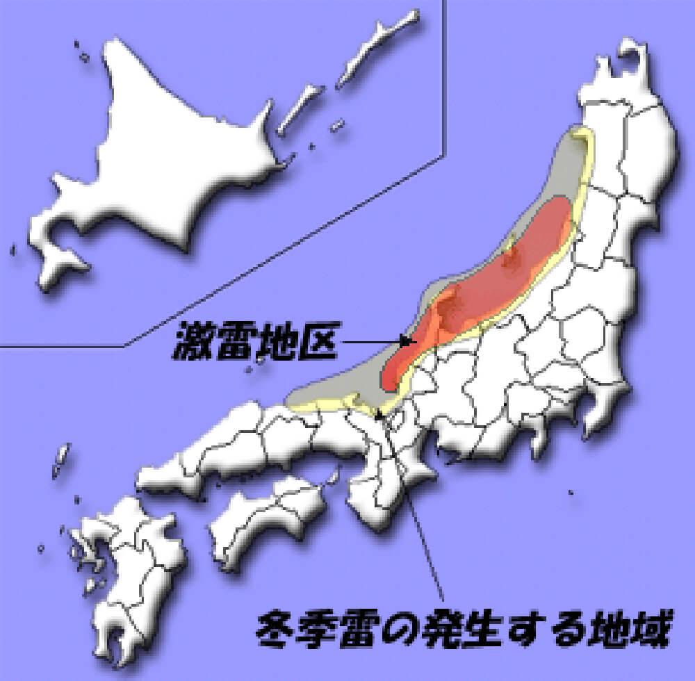冬季雷の発生地域