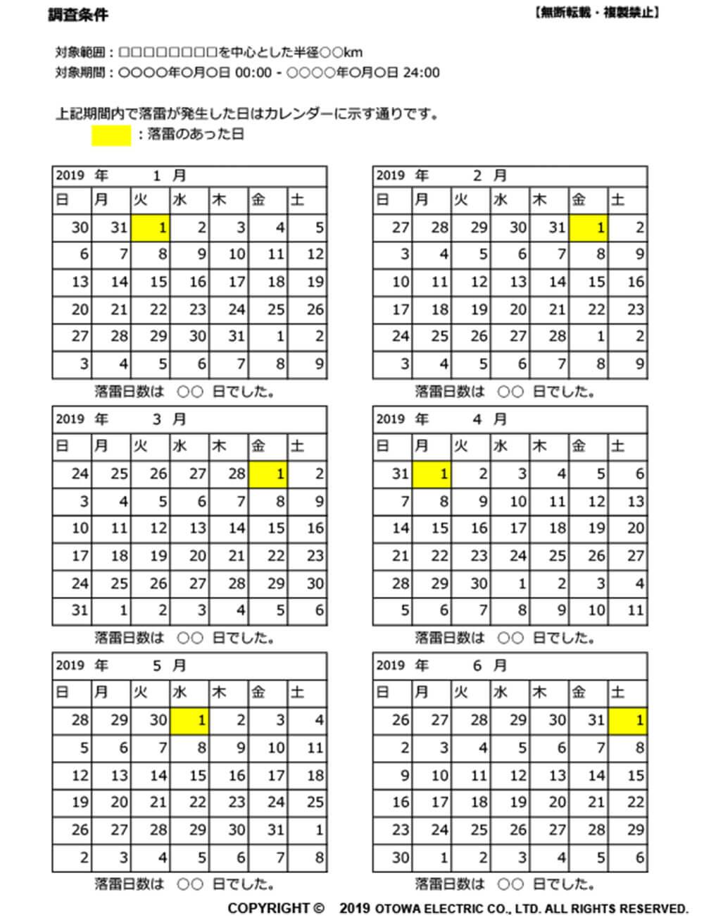 落雷カレンダー(サンプル)