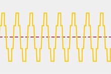 基本正弦波にその整数倍の周波数をもつ正弦波(高調波)を含んだ状態。電源周波数に必ず同期する