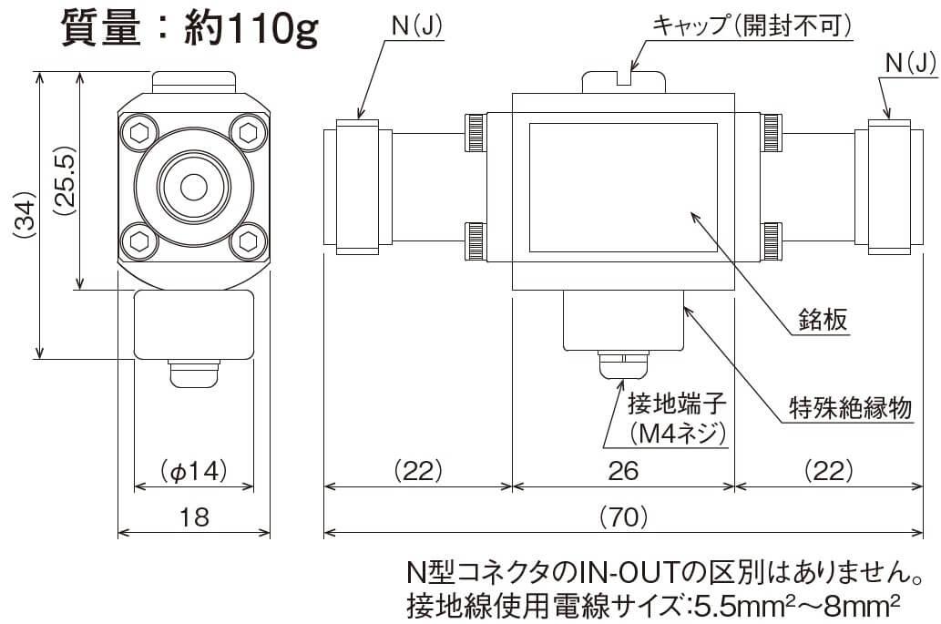 同軸ケーブルSPD CS-NJJ50-T90FG-hp外形