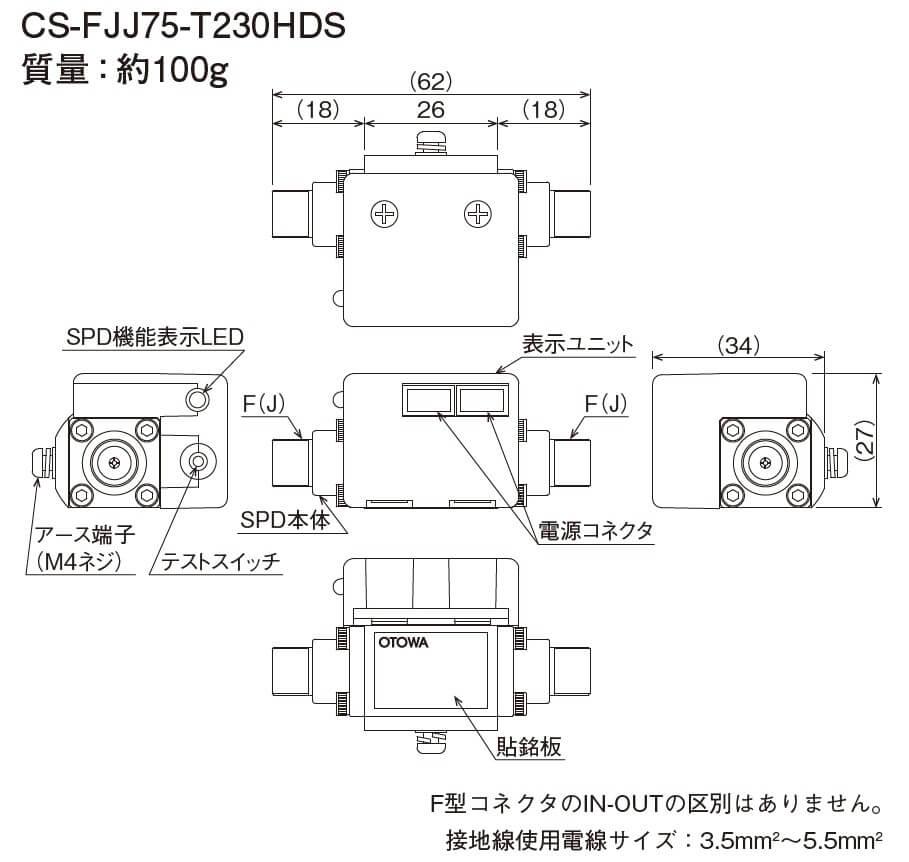 CS-FJJ75-T230HDS外形図